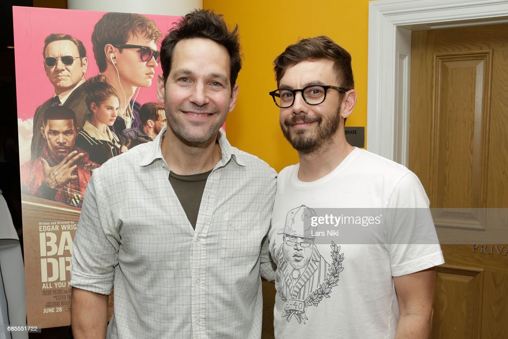 Actor Paul Rudd and Actor Jorma Taccone attend the Baby Driver NY Screening Hosted by Aziz Ansari at Crosby Street Hotel on May 19, 2017 in New York City.