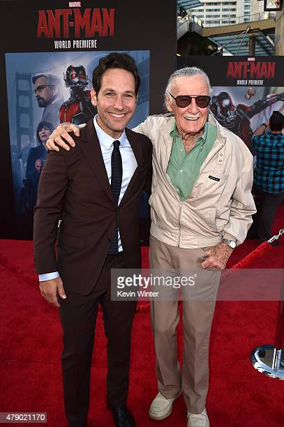 Actor Paul Rudd and comic book icon Stan Lee attend the premiere of Marvel's 'AntMan' at the Dolby Theatre on June 29 2015 in Hollywood California