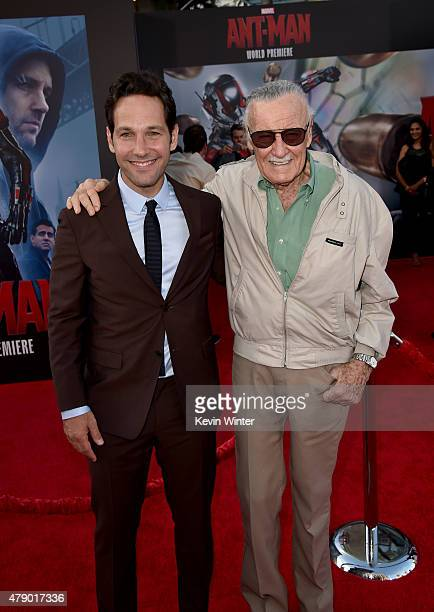 Actor Paul Rudd and Executive producer/comic book icon Stan Lee attend the premiere of Marvel's 'AntMan' at the Dolby Theatre on June 29 2015 in...