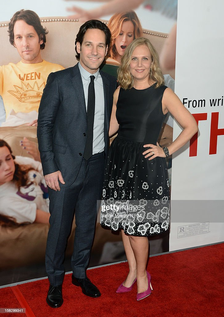 Actor <a gi-track='captionPersonalityLinkClicked' href=/galleries/search?phrase=Paul+Rudd&family=editorial&specificpeople=209014 ng-click='$event.stopPropagation()'>Paul Rudd</a> and wife Julie Yaeger attend the premiere Of Universal Pictures' 'This Is 40' at Grauman's Chinese Theatre on December 12, 2012 in Hollywood, California.