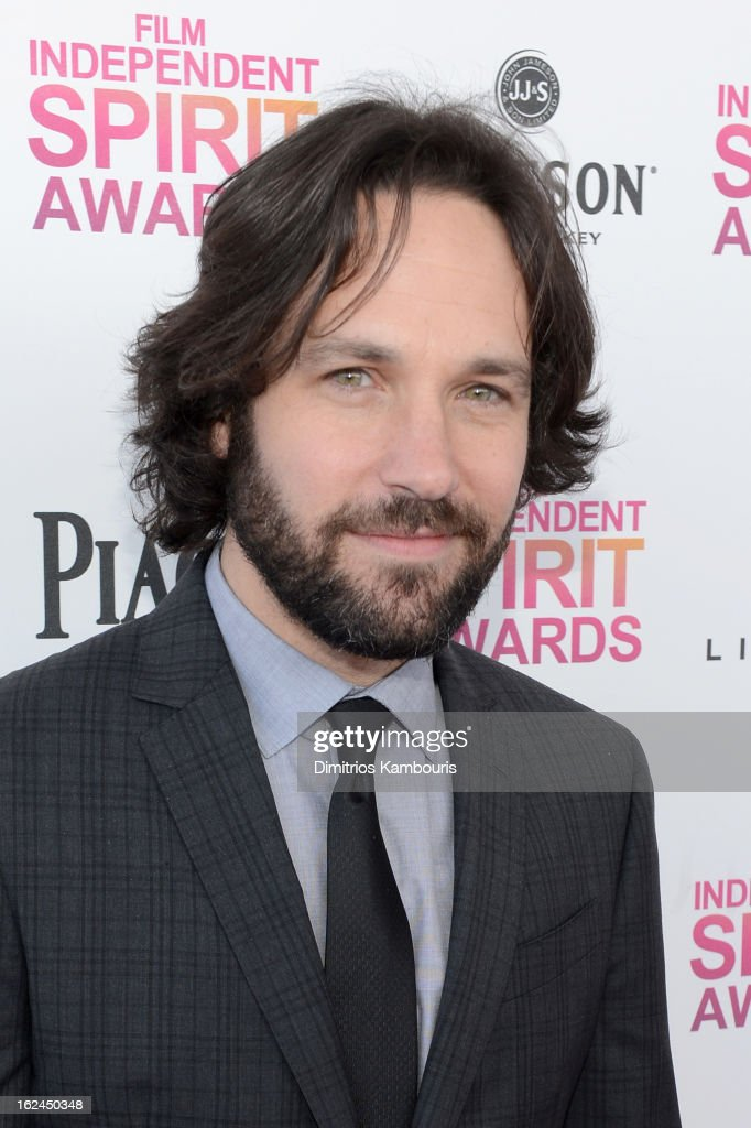 Actor <a gi-track='captionPersonalityLinkClicked' href=/galleries/search?phrase=Paul+Rudd&family=editorial&specificpeople=209014 ng-click='$event.stopPropagation()'>Paul Rudd</a> arrives with Jameson prior to the 2013 Film Independent Spirit Awards at Santa Monica Beach on February 23, 2013 in Santa Monica, California.