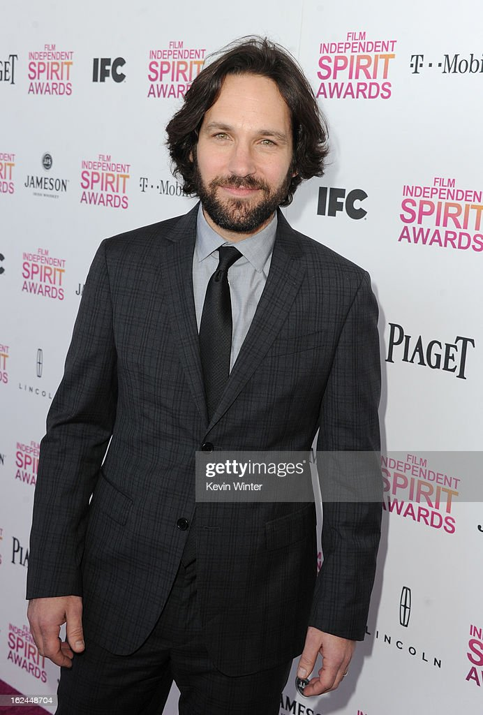 Actor <a gi-track='captionPersonalityLinkClicked' href=/galleries/search?phrase=Paul+Rudd&family=editorial&specificpeople=209014 ng-click='$event.stopPropagation()'>Paul Rudd</a> attends the 2013 Film Independent Spirit Awards at Santa Monica Beach on February 23, 2013 in Santa Monica, California.