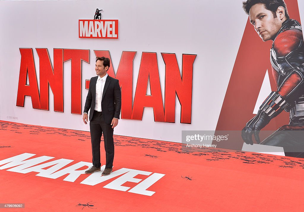 Actor <a gi-track='captionPersonalityLinkClicked' href=/galleries/search?phrase=Paul+Rudd&family=editorial&specificpeople=209014 ng-click='$event.stopPropagation()'>Paul Rudd</a> attends the European Premiere of Marvel's 'Ant-Man' at the Odeon Leicester Square on July 8, 2015 in London, England.
