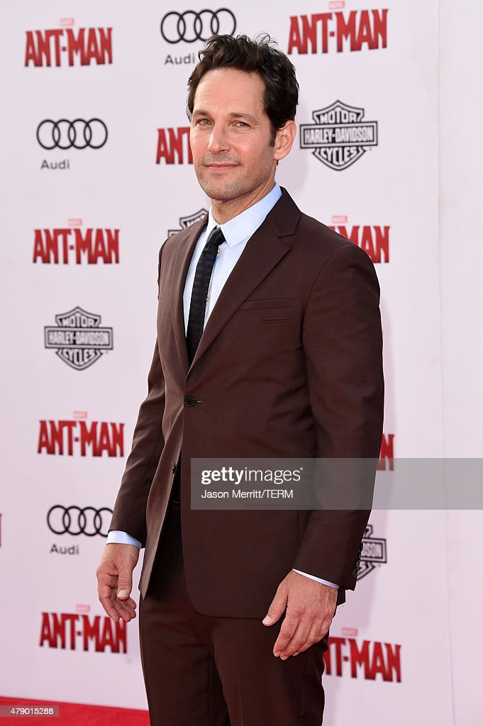Actor <a gi-track='captionPersonalityLinkClicked' href=/galleries/search?phrase=Paul+Rudd&family=editorial&specificpeople=209014 ng-click='$event.stopPropagation()'>Paul Rudd</a> attends the premiere of Marvel's 'Ant-Man' at the Dolby Theatre on June 29, 2015 in Hollywood, California.