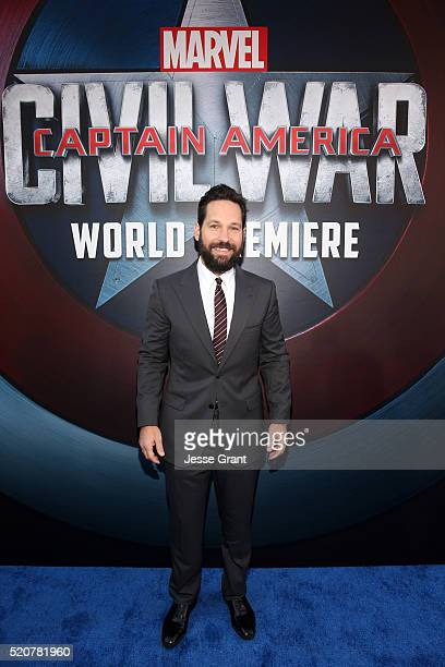 Actor Paul Rudd attends The World Premiere of Marvel's 'Captain America Civil War' at Dolby Theatre on April 12 2016 in Los Angeles California