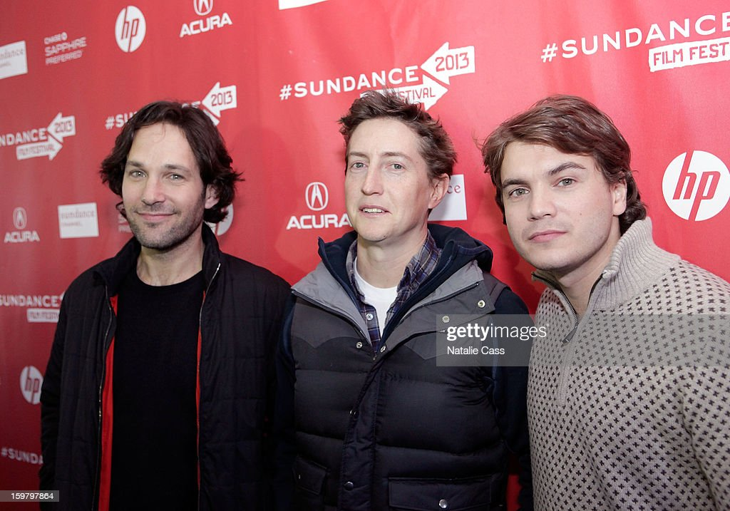 Actor Paul Rudd filmmaker David Gordon Green and actor Emile Hirsch attend the 'Prince Avalanche' Premiere during the 2013 Sundance Film Festival at...