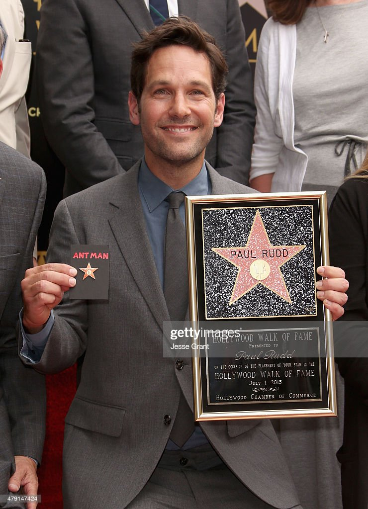Actor <a gi-track='captionPersonalityLinkClicked' href=/galleries/search?phrase=Paul+Rudd&family=editorial&specificpeople=209014 ng-click='$event.stopPropagation()'>Paul Rudd</a> honored with a Star on The Hollywood Walk of Fame on July 1, 2015 in Hollywood, California.