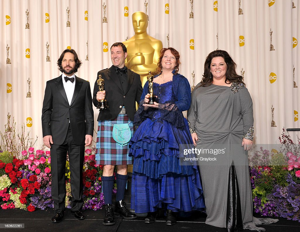Actor Paul Rudd, Mark Andrews, Brenda Chapman and actress Melissia McCarthy in the press room during the 85th Annual Academy Awards held at Hollywood & Highland Center on February 24, 2013 in Hollywood, California.