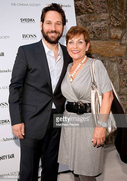 Actor Paul Rudd poses with his mother at the Cinema Society with Vanity Fair Hugo Boss screening of 'Dinner For Schmucks' at East Hampton UA Cinema...