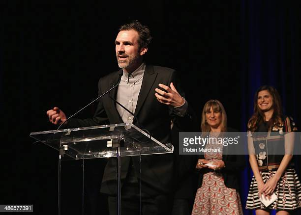 Actor Paul Schneider accepts the award for Best Actor in a Narrative Feature Film for 'Goodbye to All That' onstage at the TFF Awards Night during...