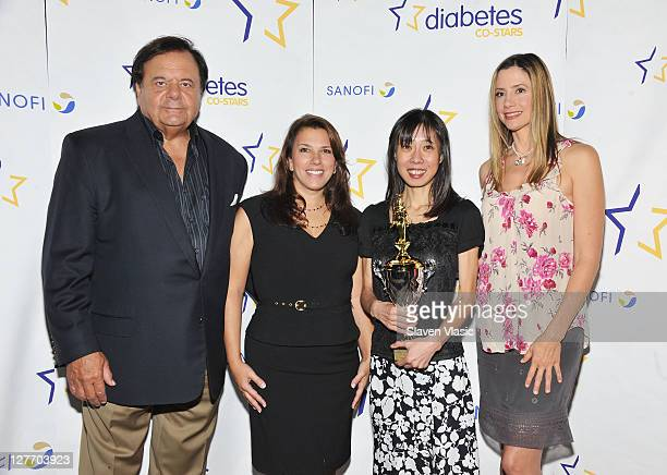 Actor Paul Sorvino finalist Lorin Cook winner Hidemi Walsh and actress Mira Sorvino attend the Diabetes costars cookoff at Hudson River Park Pier 57...