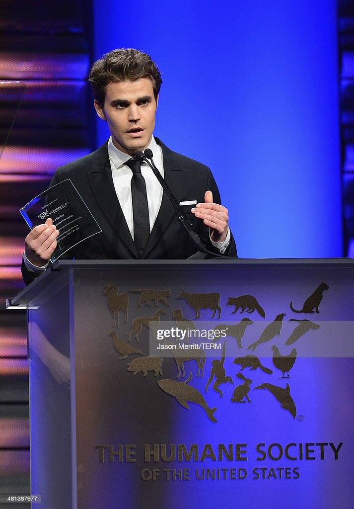 Actor Paul Wesley accepts the Humae Generation Award at the Humane Society of The United States 60th Anniversary Gala at The Beverly Hilton Hotel on...