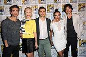 Actor Paul Wesley actress Candice Accola actor Michael Malarkey actress Kat Graham and actor Ian Somerhalder attend the 'The Vampire Diaries' panel...