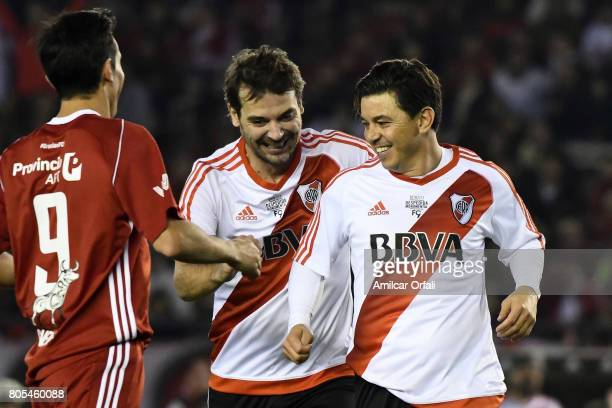 Actor Pedro Alfonso and Marcelo Gallardo coach of River Plate smile during Fernando Cavenaghi's farewell match at Monumental Stadium on July 01 2017...