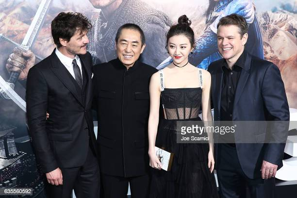 Actor Pedro Pascal director Zhang Yimou and actors Jing Tian and Matt Damon attend the premiere of Universal Pictures' 'The Great Wall' at TCL...