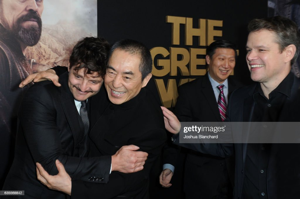 Actor Pedro Pascal, Director Zhang Yimou and Matt Damon arrive at the premiere of Universal Pictures' 'The Great Wall' at TCL Chinese Theatre IMAX on February 15, 2017 in Hollywood, California.