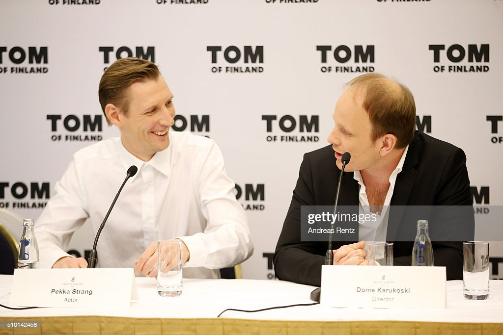 Actor Pekka Strang and director Dome Karukoski attend the 'Tom of Finland' press conference during the 66th Berlinale International Film Festival Berlin at Ritz Carlton on February 14, 2016 in Berlin, Germany.