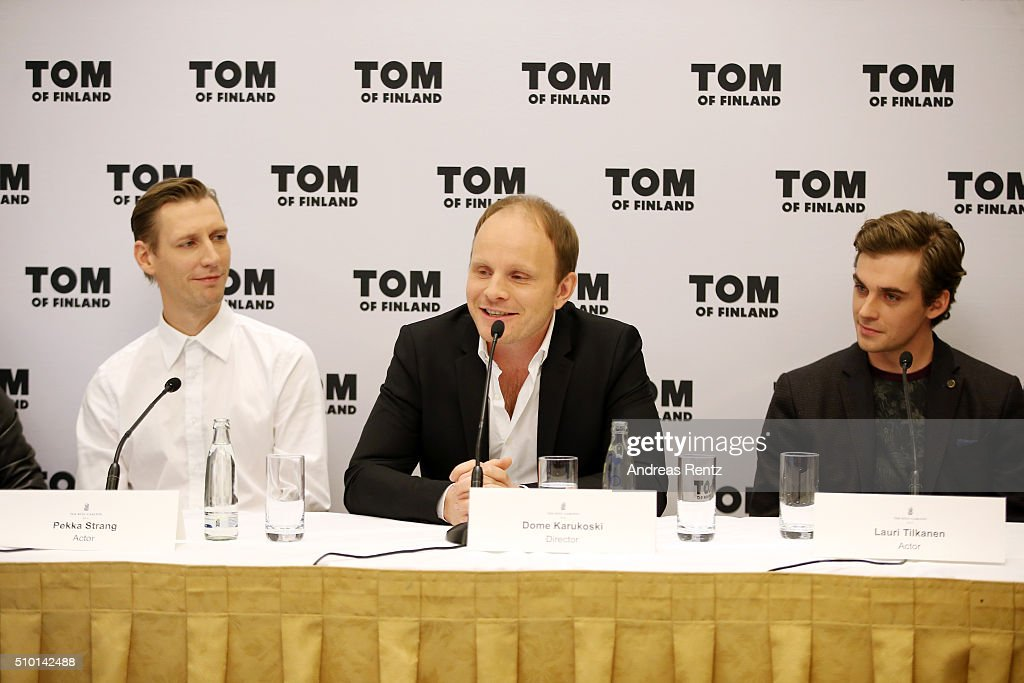 Actor Pekka Strang, director Dome Karukoski and Lauri Tilkanen attend the 'Tom of Finland' press conference during the 66th Berlinale International Film Festival Berlin at Ritz Carlton on February 14, 2016 in Berlin, Germany.