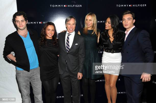 Actor Penn Badgley actress Hayden Panettiere designer Tommy Hilfiger Dee Hilfiger actress Rosario Dawson and actor Ed Westwick pose backstage at the...