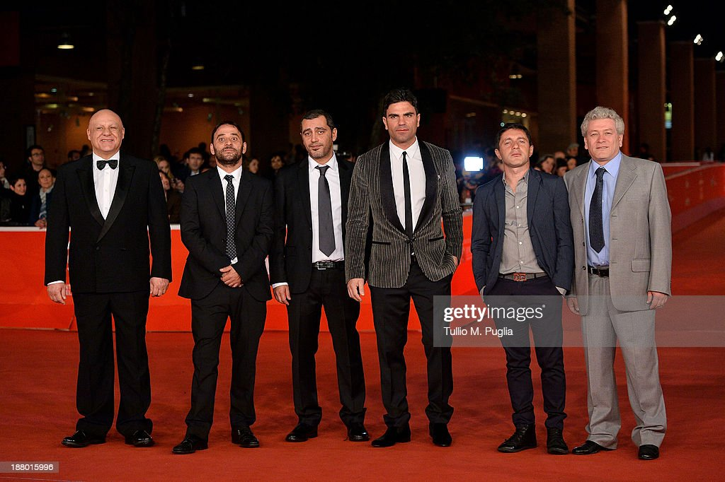 Actor Peppe Lanzetta, Salvatore Striano, director Guido Lombardi, Salvatore Ruocco, <a gi-track='captionPersonalityLinkClicked' href=/galleries/search?phrase=Carmine+Paternoster&family=editorial&specificpeople=9692536 ng-click='$event.stopPropagation()'>Carmine Paternoster</a> and Gaetano Di Vaio attend the 'Take Five' Premiere during The 8th Rome Film Festival at Auditorium Parco Della Musica on November 14, 2013 in Rome, Italy.