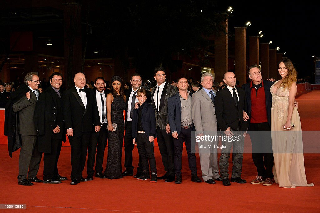Actor Peppe Lanzetta, Salvatore Striano, Esther Elisha, director Guido Lombardi, guest, Salvatore Ruocco, <a gi-track='captionPersonalityLinkClicked' href=/galleries/search?phrase=Carmine+Paternoster&family=editorial&specificpeople=9692536 ng-click='$event.stopPropagation()'>Carmine Paternoster</a>, Gaetano Di Vaio and Vittoria Schisano (R) attend the 'Take Five' Premiere during The 8th Rome Film Festival at Auditorium Parco Della Musica on November 14, 2013 in Rome, Italy.