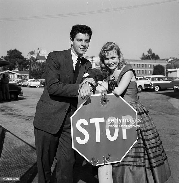 Actor Peter Brown and actress Diane Jergens pose in Los Angeles California