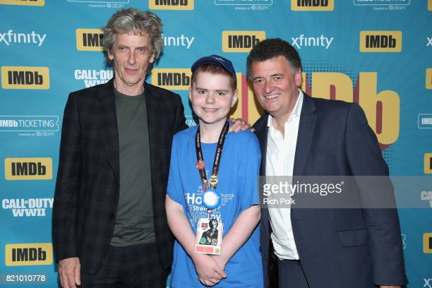Actor Peter Capaldi and writer Steven Moffat with MakeAWish kids on the #IMDboat at San Diego ComicCon 2017 at The IMDb Yacht on July 22 2017 in San...
