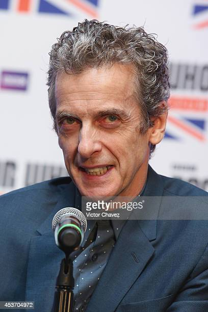 Actor Peter Capaldi attends Doctor Who The World Tour Mexico City press conference at Hilton Centro Histórico hotel on August 16 2014 in Mexico City...