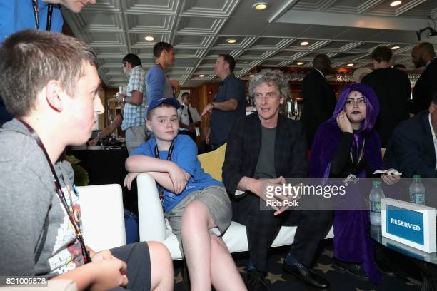 Actor Peter Capaldi with MakeAWish kids on the #IMDboat at San Diego ComicCon 2017 at The IMDb Yacht on July 22 2017 in San Diego California