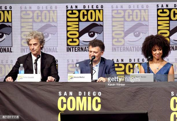 Actor Peter Capaldi writer Steven Moffat and actress Pearl Mackie speak onstage at the 'Doctor Who' BBC America official panel during ComicCon...