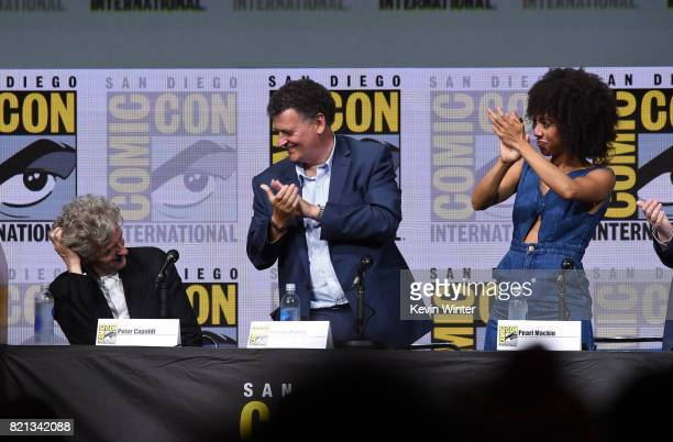 Actor Peter Capaldi writer/producer Steven Moffat and actor Pearl Mackie at 'Doctor Who' BBC America official panel during ComicCon International...