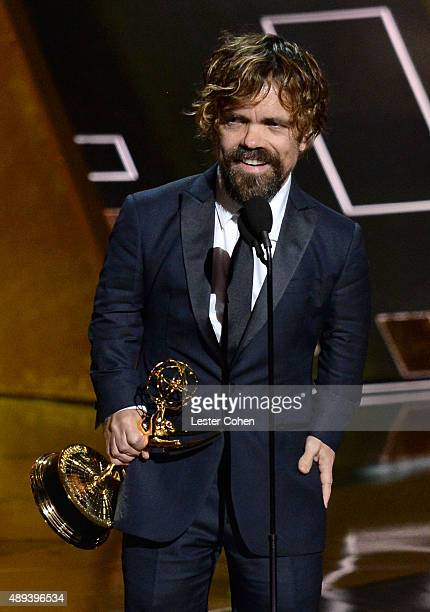 Actor Peter Dinklage accepts an award onstage during the 67th Annual Primetime Emmy Awards at Microsoft Theater on September 20 2015 in Los Angeles...