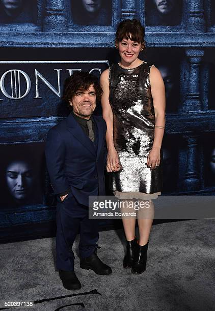 Actor Peter Dinklage and Erica Schmidt arrive at the premiere of HBO's 'Game Of Thrones' Season 6 at the TCL Chinese Theatre on April 10 2016 in...