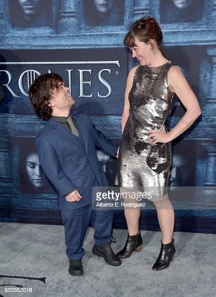 Actor Peter Dinklage and Erica Schmidt attend the premiere of HBO's 'Game Of Thrones' Season 6 at TCL Chinese Theatre on April 10 2016 in Hollywood...