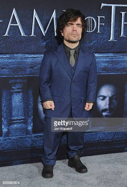 Actor Peter Dinklage arrives at the Premiere Of HBO's 'Game Of Thrones' Season 6 at TCL Chinese Theatre on April 10 2016 in Hollywood California