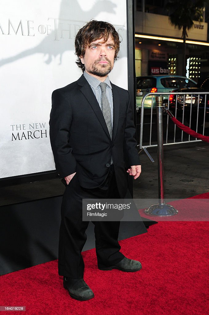 Actor <a gi-track='captionPersonalityLinkClicked' href=/galleries/search?phrase=Peter+Dinklage&family=editorial&specificpeople=215147 ng-click='$event.stopPropagation()'>Peter Dinklage</a> attends 'Game Of Thrones' Los Angeles premiere presented by HBO at TCL Chinese Theatre on March 18, 2013 in Hollywood, California.