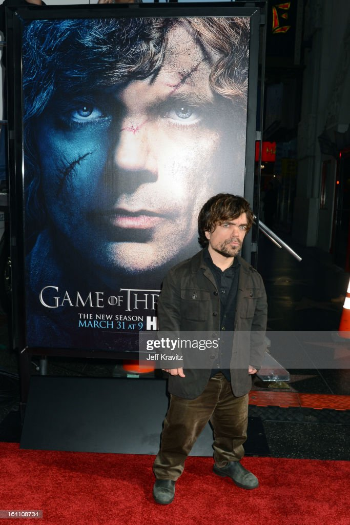 Actor <a gi-track='captionPersonalityLinkClicked' href=/galleries/search?phrase=Peter+Dinklage&family=editorial&specificpeople=215147 ng-click='$event.stopPropagation()'>Peter Dinklage</a> attends the Academy of Television Arts & Sciences an evening with HBO's 'Game Of Thrones' at TCL Chinese Theatre on March 19, 2013 in Hollywood, California.