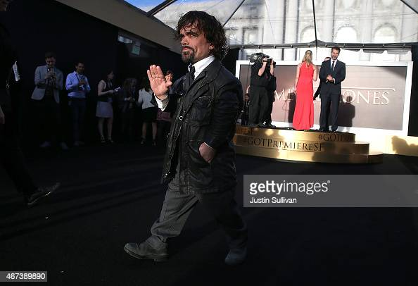 Actor Peter Dinklage attends the premiere of HBO's 'Game of Thrones' Season 5 at San Francisco Opera House on March 23 2015 in San Francisco...