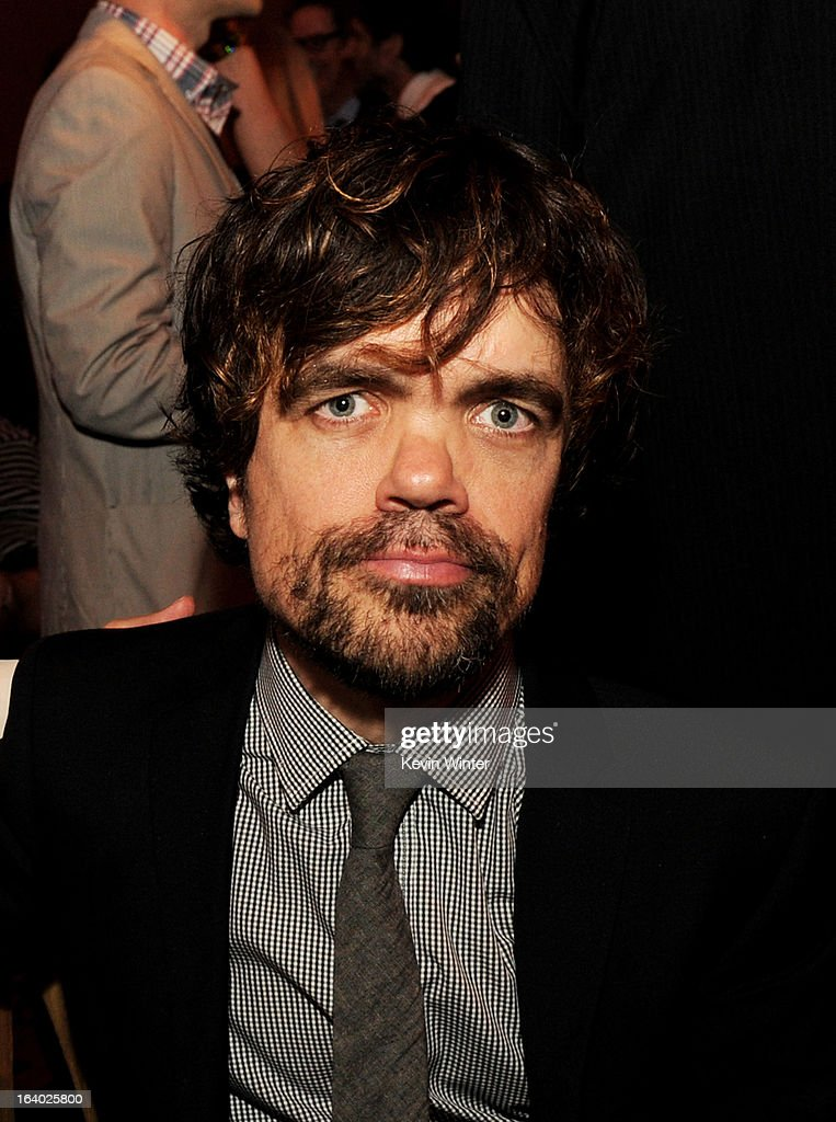 Actor <a gi-track='captionPersonalityLinkClicked' href=/galleries/search?phrase=Peter+Dinklage&family=editorial&specificpeople=215147 ng-click='$event.stopPropagation()'>Peter Dinklage</a> poses at the after party for the premiere of HBO's 'Game Of Thrones' at the Roosevelt Hotel on March 18, 2013 in Los Angeles, California.