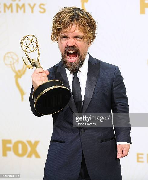 Actor Peter Dinklage poses in the press room at the 67th annual Primetime Emmy Awards at Microsoft Theater on September 20 2015 in Los Angeles...