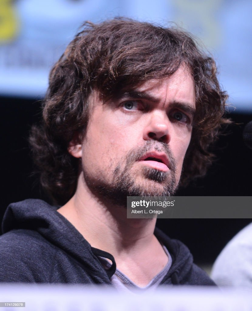 Actor <a gi-track='captionPersonalityLinkClicked' href=/galleries/search?phrase=Peter+Dinklage&family=editorial&specificpeople=215147 ng-click='$event.stopPropagation()'>Peter Dinklage</a> speaks at the 20th Century Fox 'X-Men: Days of Future Past' panel during Comic-Con International 2013 at San Diego Convention Center on July 20, 2013 in San Diego, California.