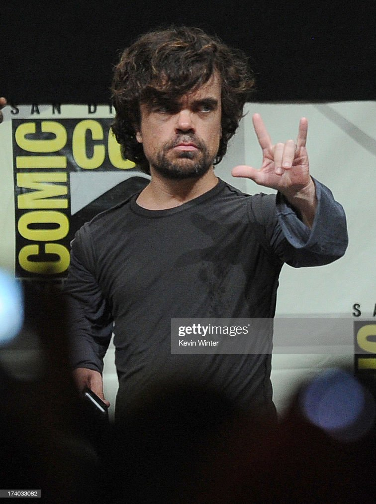 Actor <a gi-track='captionPersonalityLinkClicked' href=/galleries/search?phrase=Peter+Dinklage&family=editorial&specificpeople=215147 ng-click='$event.stopPropagation()'>Peter Dinklage</a> speaks onstage during the 'Game Of Thrones' panel during Comic-Con International 2013 at San Diego Convention Center on July 19, 2013 in San Diego, California.