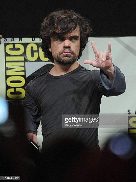 Actor Peter Dinklage speaks onstage during the 'Game Of Thrones' panel during ComicCon International 2013 at San Diego Convention Center on July 19...