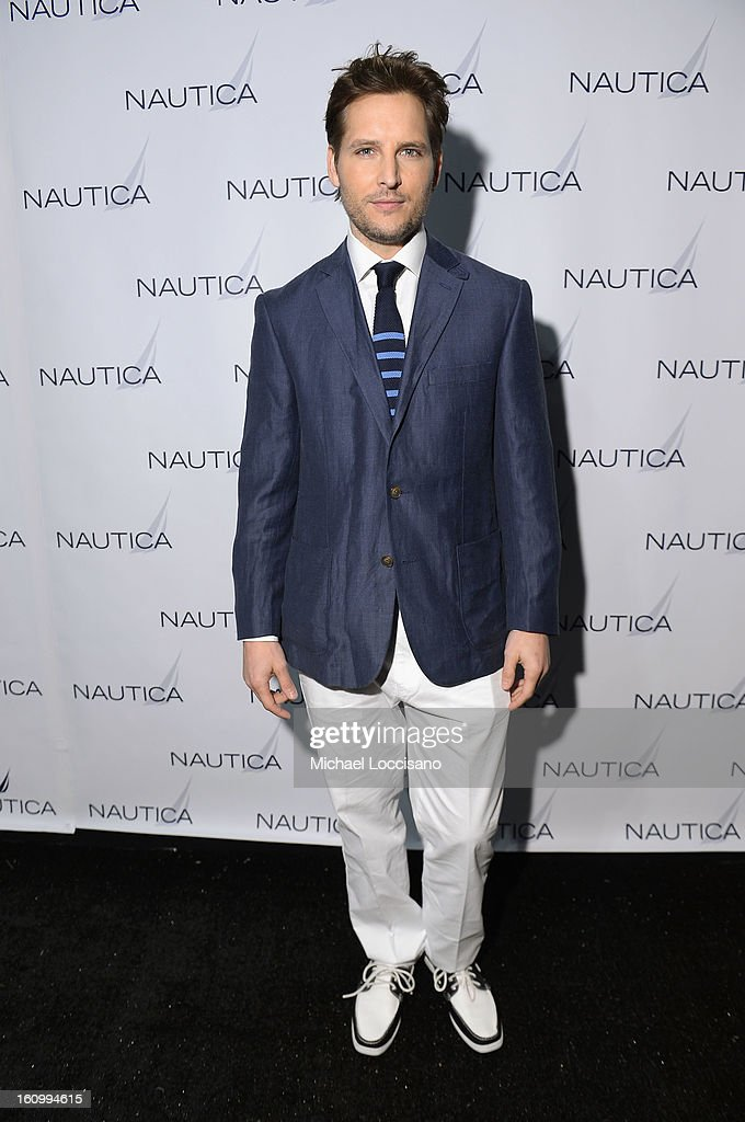 Actor <a gi-track='captionPersonalityLinkClicked' href=/galleries/search?phrase=Peter+Facinelli&family=editorial&specificpeople=233464 ng-click='$event.stopPropagation()'>Peter Facinelli</a> poses backstage at the Nautica Men's Fall 2013 fashion show during Mercedes-Benz Fashion Week at The Stage at Lincoln Center on February 8, 2013 in New York City.