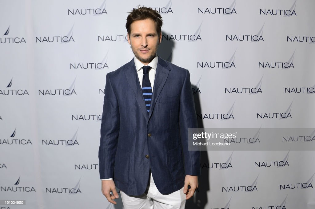Actor Peter Facinelli poses backstage at the Nautica Men's Fall 2013 fashion show during Mercedes-Benz Fashion Week at The Stage at Lincoln Center on February 8, 2013 in New York City.