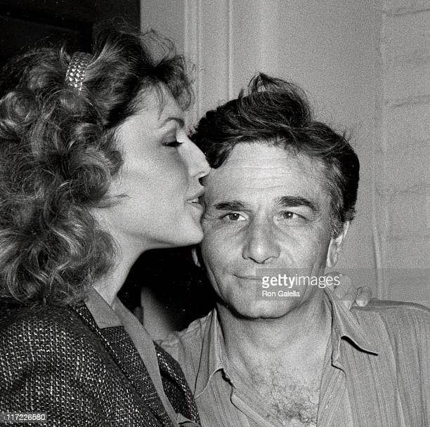Actor Peter Falk and wife Shera Danese attend Pierre Cossette's Super Bowl Party on January 24 1982 at Chasen's Restaurant in Beverly Hills California
