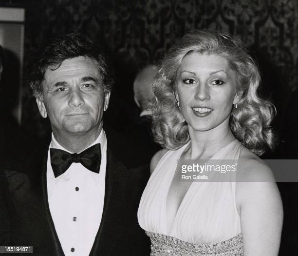 Actor Peter Falk and wife Shera Danese attend Variety International Humanitarian Awards Honoring Frank Sinatra on April 24 1980 at the Century Plaza...