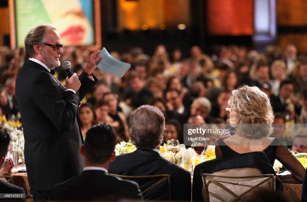 Actor Peter Fonda (L) addresses honoree Jane Fonda (R) at the 2014 AFI Life Achievement Award: A Tribute to Jane Fonda at the Dolby Theatre on June 5, 2014 in Hollywood, California. Tribute show airing Saturday, June 14, 2014 at 9pm ET/PT on TNT.