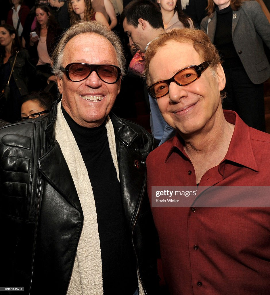 Actor <a gi-track='captionPersonalityLinkClicked' href=/galleries/search?phrase=Peter+Fonda&family=editorial&specificpeople=213498 ng-click='$event.stopPropagation()'>Peter Fonda</a> (L) and composer <a gi-track='captionPersonalityLinkClicked' href=/galleries/search?phrase=Danny+Elfman&family=editorial&specificpeople=815887 ng-click='$event.stopPropagation()'>Danny Elfman</a> pose at the after party for a screening of The Weinstein Company's 'Silver Lining's Playbook' at the Academy of Motion Picture Arts and Sciences on November 19, 2012 in Beverly Hills, California.