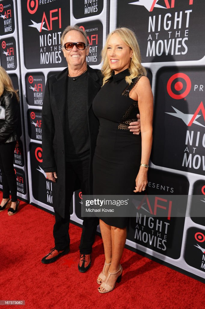 Actor <a gi-track='captionPersonalityLinkClicked' href=/galleries/search?phrase=Peter+Fonda&family=editorial&specificpeople=213498 ng-click='$event.stopPropagation()'>Peter Fonda</a> and Parky Fonda arrive on the red carpet for Target Presents AFI's Night at the Movies at ArcLight Cinemas on April 24, 2013 in Hollywood, California.